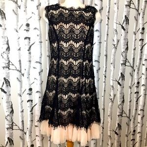 Established 1962 Black Lace Fit and Flair Dress.